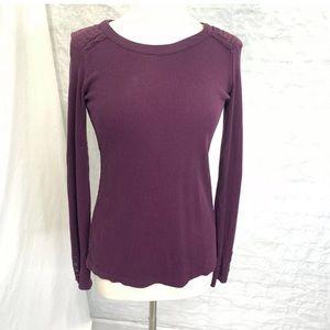Lucky Brand Womens M Top Tunic Sweater Purple